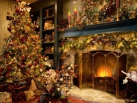 Christmas Fireplace Screensaver 3D