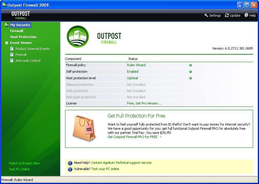 Outpost_Firewall_Pro_2009 + ключ скачать бесплатно!